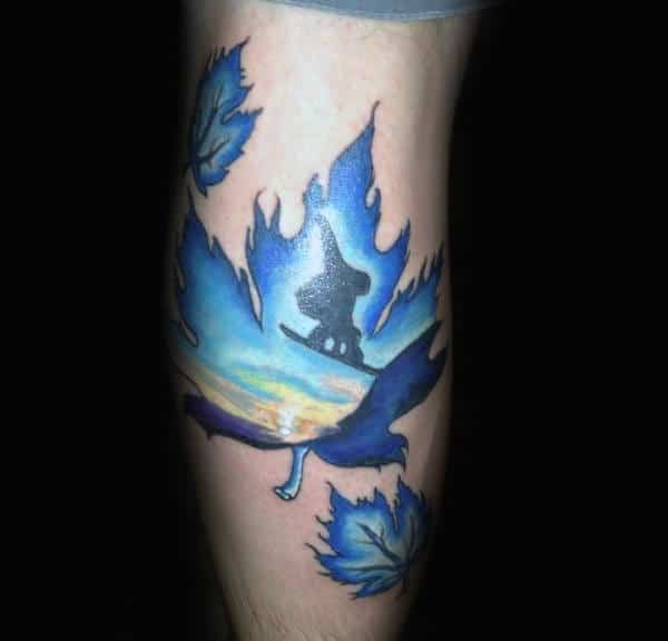 Guys Forearms Bluish Leaves And Snowboard Tattoo