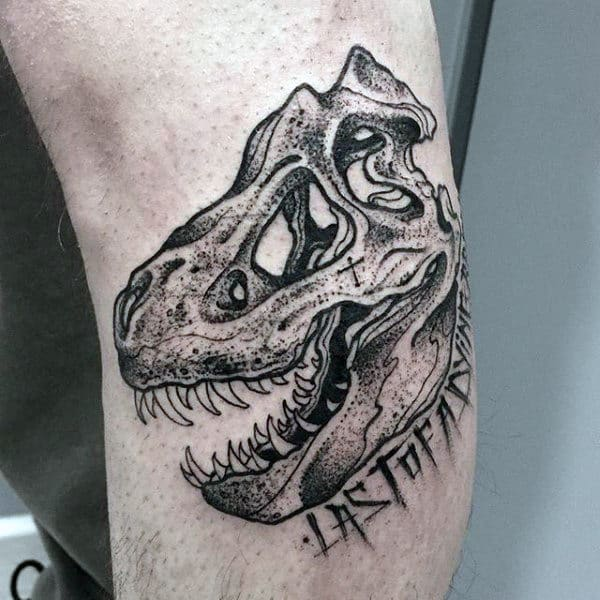 Guys Forearms Bone Of Dinosaur Tattoo
