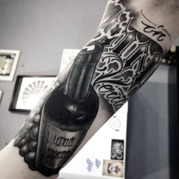 Guys Forearms Bottle And Lettering Tattoo