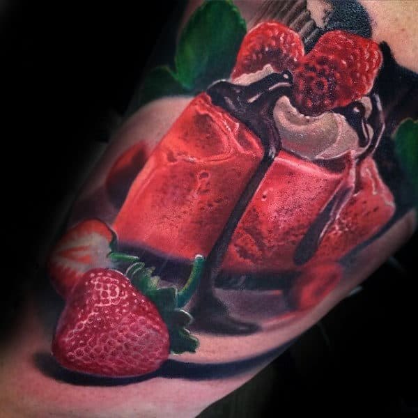 Guys Forearms Bright Red Strawberry Cake Food Tattoo