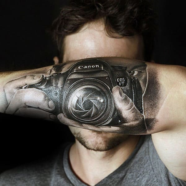 Guys Forearms Clicking A Picture With Camera Tattoo