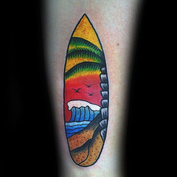 Guys Forearms Colored Surf Board Tattoo