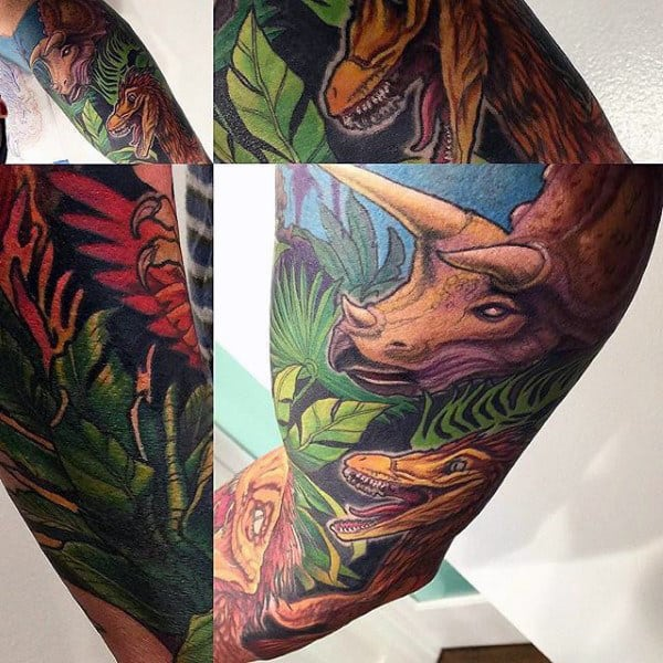 Guys Forearms Colorful Dinosaur Tattoo