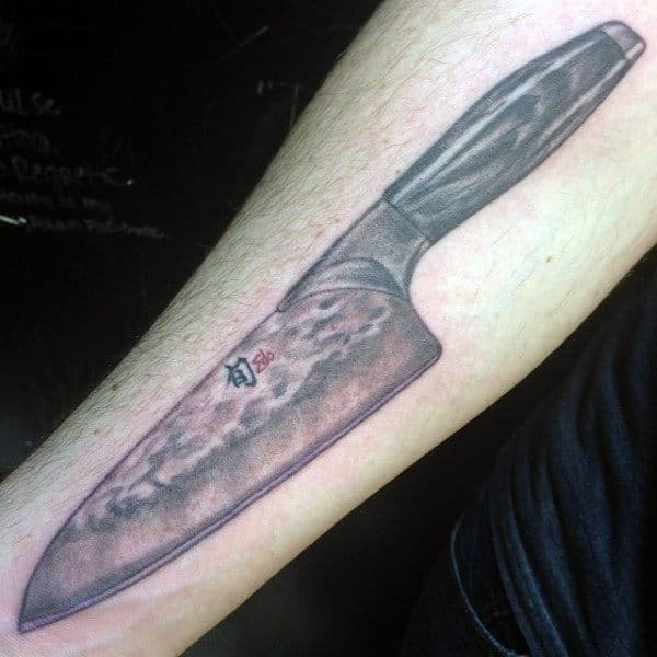 Guys Forearms Culinary Knife Tattoo