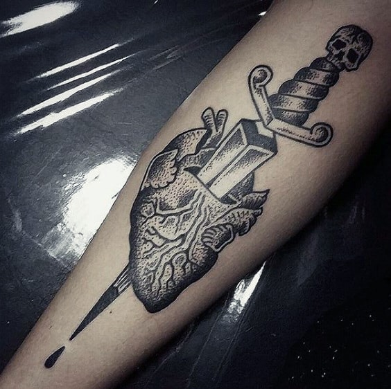Guys Forearms Dagger Through Heart Tattoo