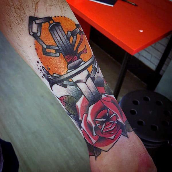 Guys Forearms Dagger Through Rose Tattoo