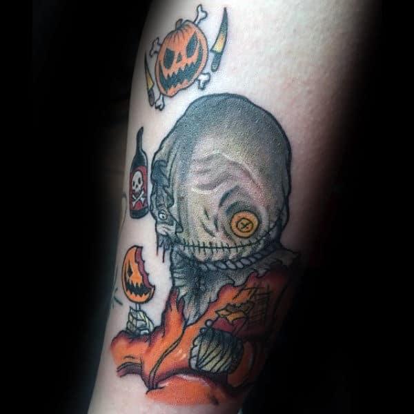 Guys Forearms Dangerous Symbol Halloween Tattoo Ideas