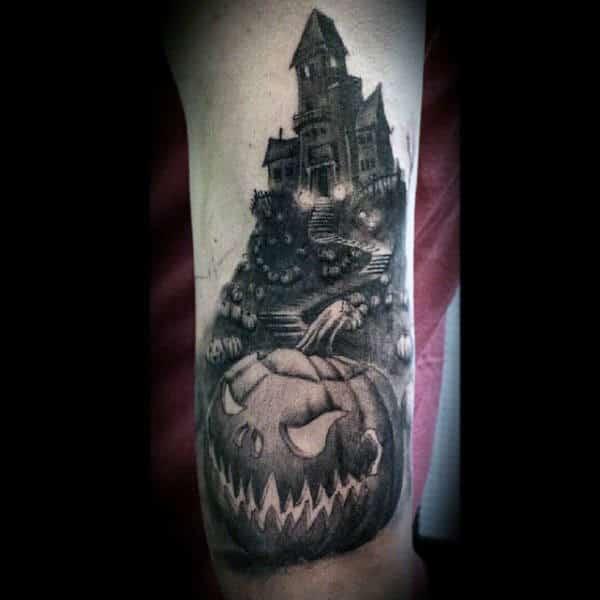 Guys Forearms Dark House And Pumpkin Halloween Tattoo