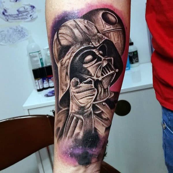 Guys Forearms Darth Vader Pointing Towards You Tattoo