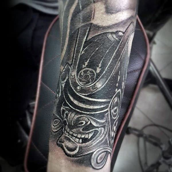 Guys Forearms Detailed Black And White Helmet And Toothy Grin Tattoo