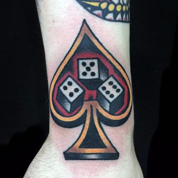 Guys Forearms Dice In Ace Tattoo
