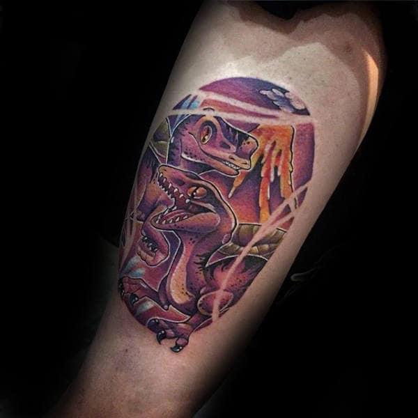 Guys Forearms Dino New School Tattoo