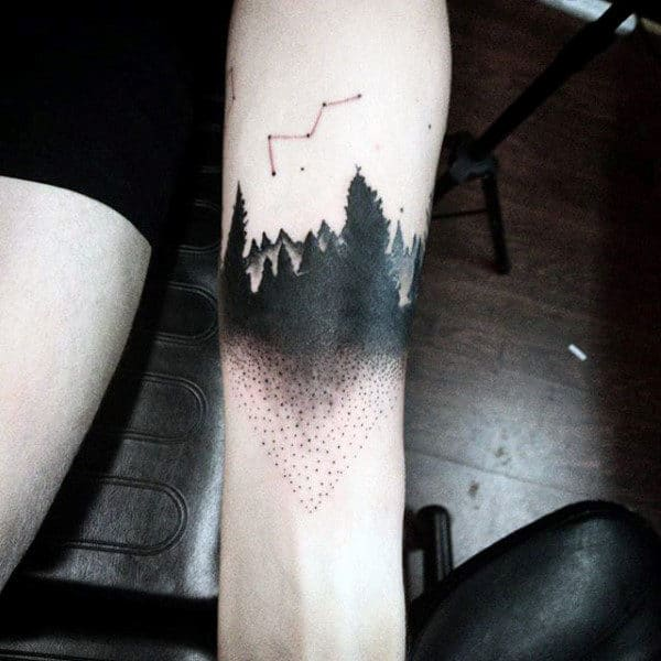 Guys Forearms Dotwork Dark Forest Tattoo