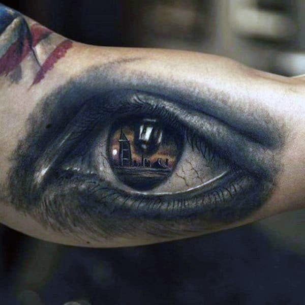 Guys Forearms Eye With Seafront Design Tattoo