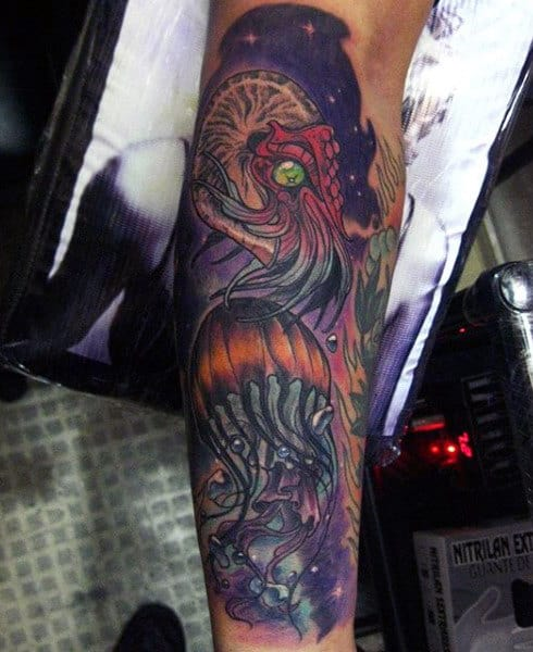 Guys Forearms Fabulous Purple Green Eyed Jellyfish Tattoo