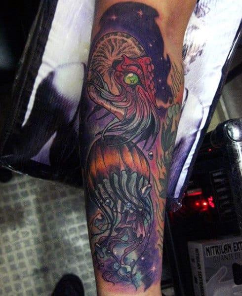Guys Forearms Fabulous Purple Green Eyed Jellyfish Tattoo