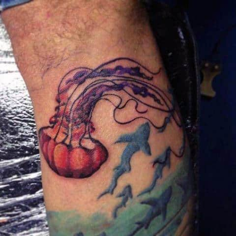 Guys Forearms Fish And Flying Jellyfish Tattoo