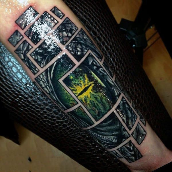 Guys Forearms Frame Patterned Eye Tattoo