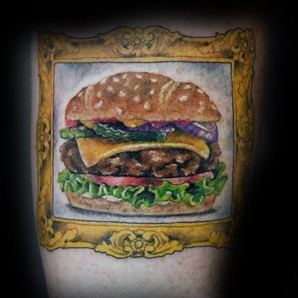 Guys Forearms Framed Burger Food Tattoo