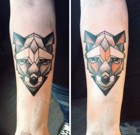 Guys Forearms Geometric Fox Head Tattoo