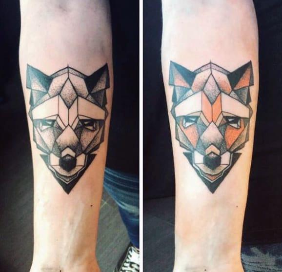 Guys Forearms Geometric Fox Head Tattoo