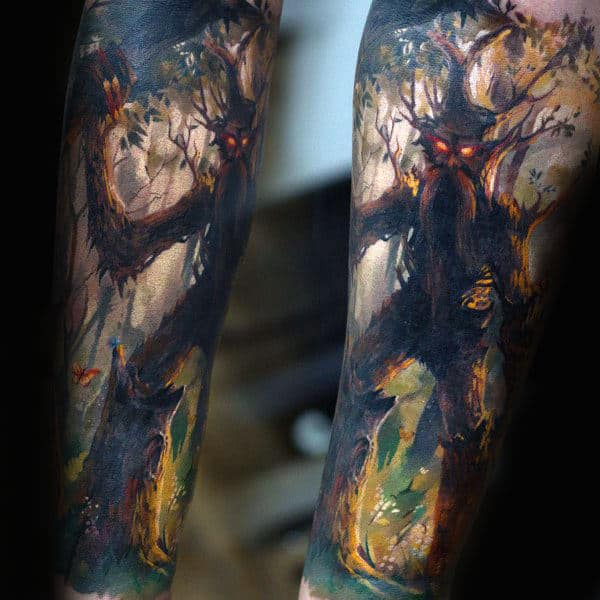 Guys Forearms Ghostly Watercolor Tree Tattoo
