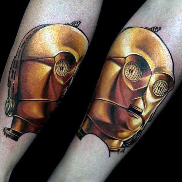 Guys Forearms Golden Mask Star Wars Tattoo