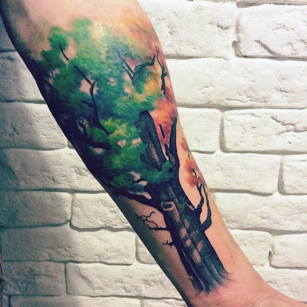 Guys Forearms Green Leaved Oak Tree Painting Tattoos