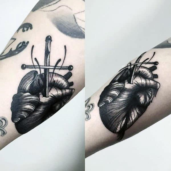 Guys Forearms Grey Heart And Dagger Tattoo