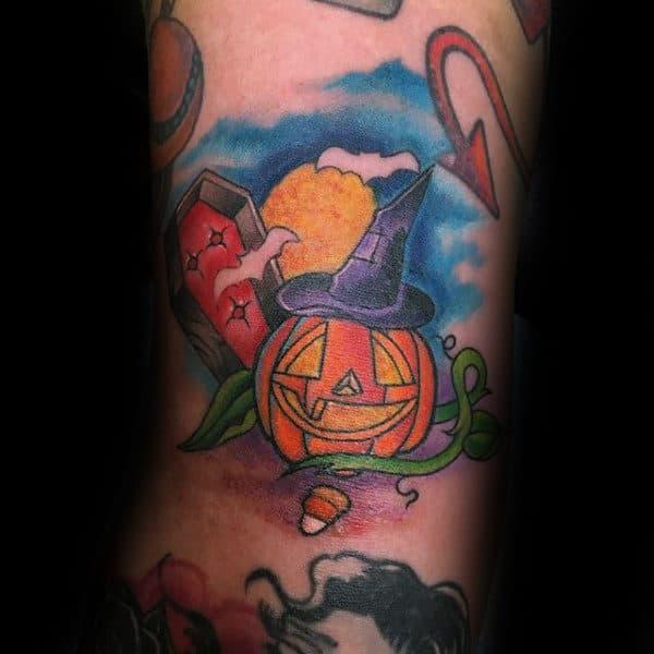 Guys Forearms Grinning Halloween Pumpkin Tattoo