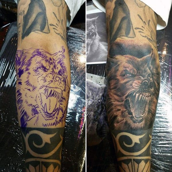 Guys Forearms Growling Werewolf Tattoo