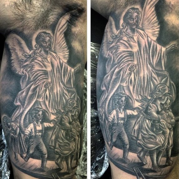 Guys Forearms Guardian Angel Watching Over Kids Tattoo