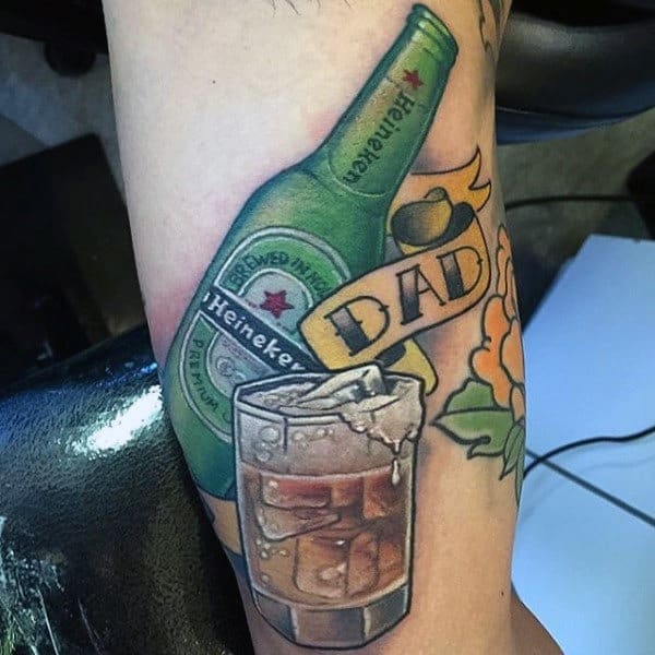 Guys Forearms Heineken Beer And Dad Tattoo