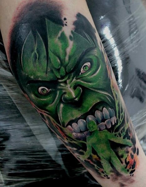 Guys Forearms Horrific Hulk Tattoo