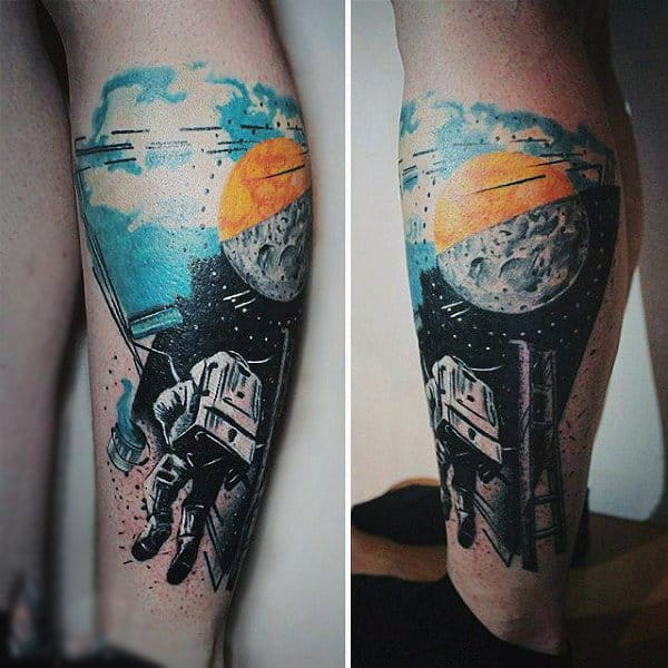 Guys Forearms Ladder And Astronaut Tattoo