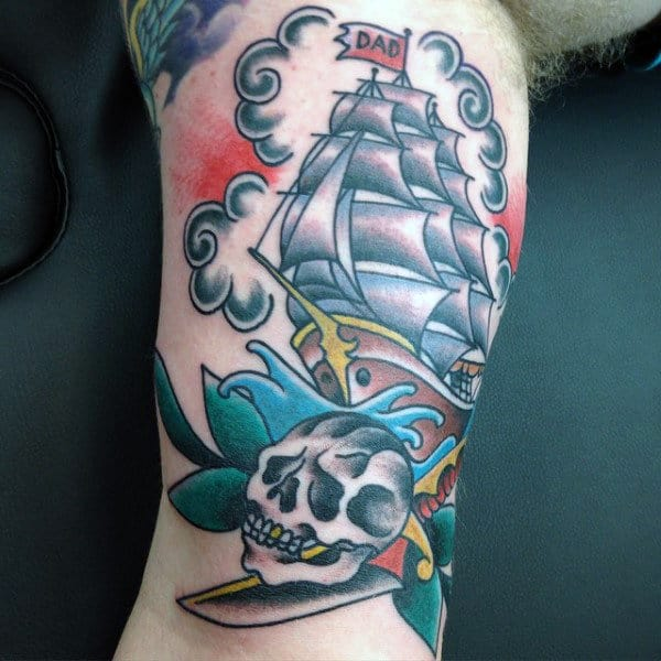 Guys Forearms Large Sailed Ship With Dad Flag Tattoo And Skull