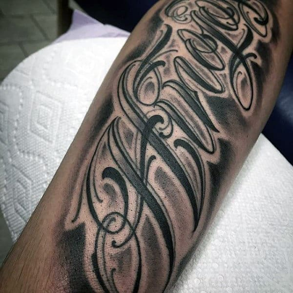Guys Forearms Lettering Tattoo