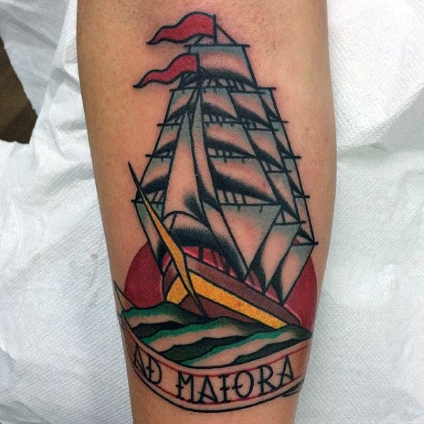 Guys Forearms Lovely Ship Tattoo