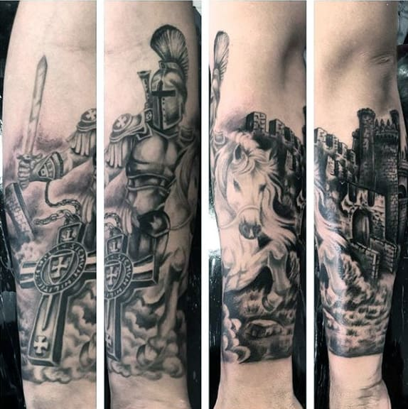 Guys Forearms Majestic Horse And Warrior Tattoo