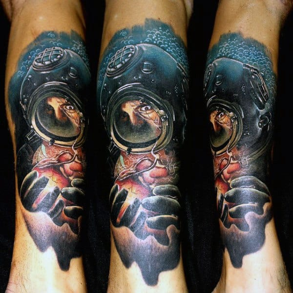 Guys Forearms Manly Diver Tattoo