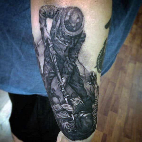 Guys Forearms Manly Fight Tattoo