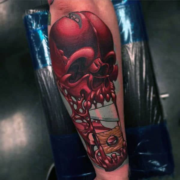 Guys Forearms Maroon Alien New School Tattoo