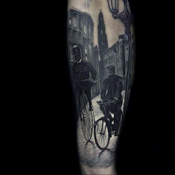 Guys Forearms Men On Bicycle Realism Tattoo