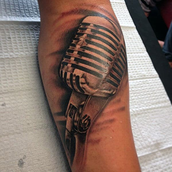 Guys Forearms Metal Microphone Tattoo