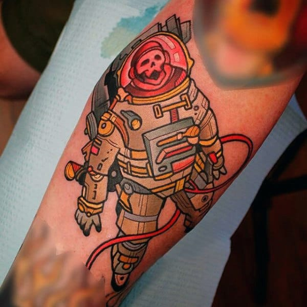 Guys Forearms Monkey In Spacesuit Tattoo