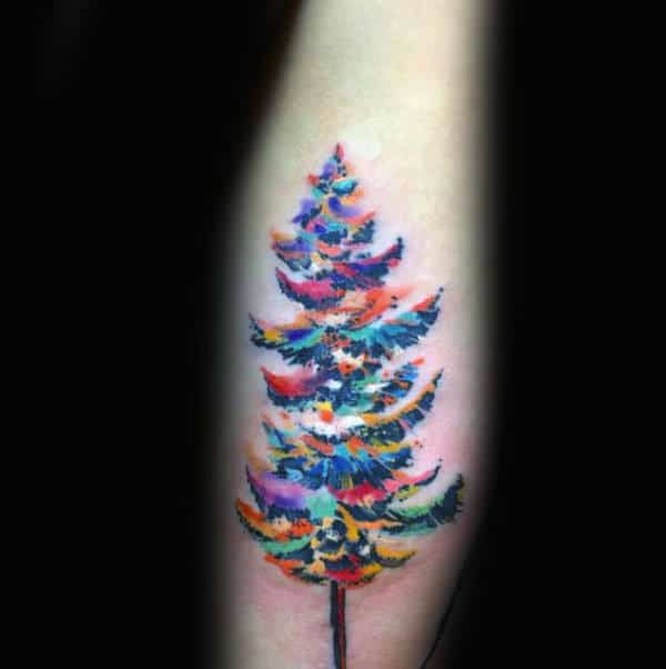 Guys Forearms Multi Colored Watercolor Tree Tattoo