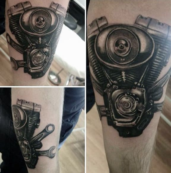 Guys Forearms Multiple Engine Tattoo Ideas