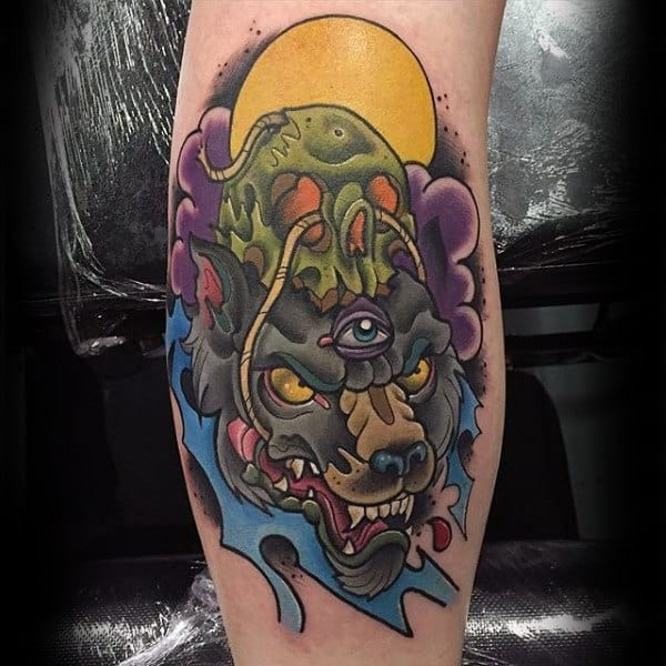 Guys Forearms One Eyed Beast New School Tattoo