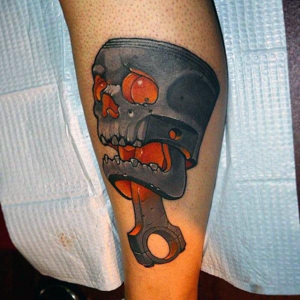 Guys Forearms Orange Eyed Skull New School Tattoo