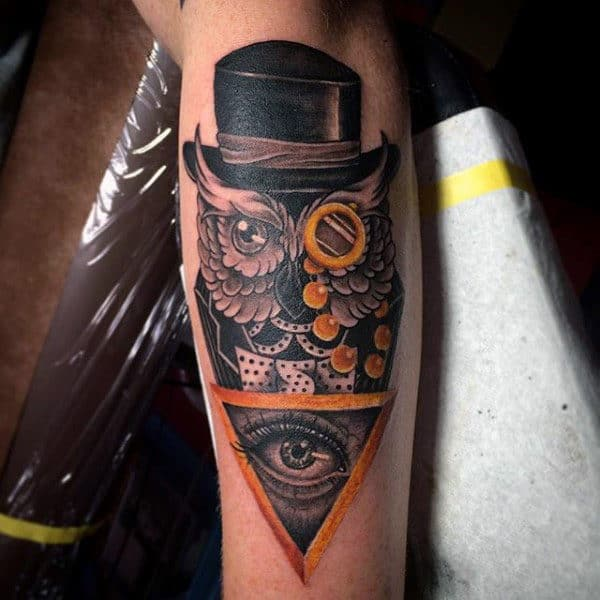Guys Forearms Owl With Black Hat And Eye Tattoo